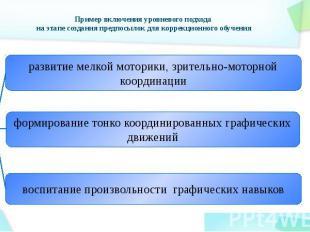 Пример включения уровневого подхода на этапе создания предпосылок для коррекцион