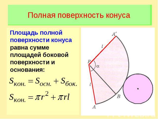 Полная поверхность конусаПлощадь полной поверхности конуса равна сумме площадей боковой поверхности и основания: