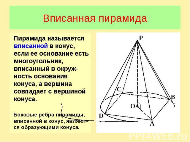 Вписанная пирамидаПирамида называется вписанной в конус, если ее основание есть многоугольник, вписанный в окруж-ность основания конуса, а вершина совпадает с вершиной конуса. Боковые ребра пирамиды, вписанной в конус, являют-ся образующими конуса.