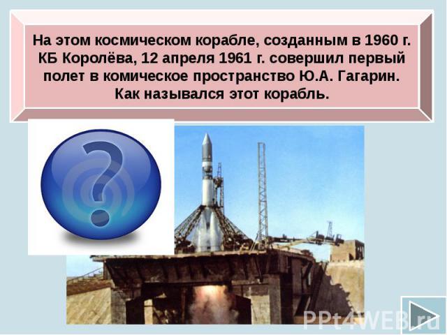 На этом космическом корабле, созданным в 1960 г. КБ Королёва, 12 апреля 1961 г. совершил первый полет в комическое пространство Ю.А. Гагарин. Как назывался этот корабль.