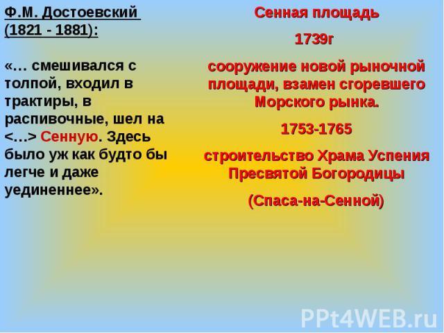 Ф.М. Достоевский (1821 - 1881):«… смешивался с толпой, входил в трактиры, в распивочные, шел на Сенную. Здесь было уж как будто бы легче и даже уединеннее».Сенная площадь1739г сооружение новой рыночной площади, взамен сгоревшего Морского рынка.1753-…