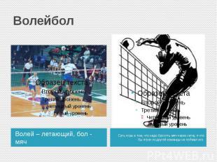 ВолейболВолей – летающий, бол - мяч