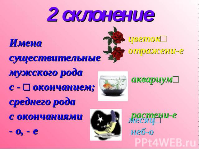 2 склонение Имена существительные мужского рода с - □ окончанием; среднего рода с окончаниями - о, - е цветок□ отражени-е аквариум□ растени-е месяц□ неб-о