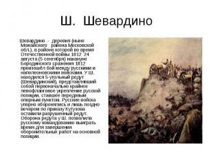 Ш. Шевардино Шевардино - деревня (ныне Можайского района Московской обл.), в рай