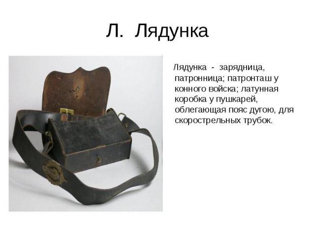 Л. Лядунка Лядунка - зарядница, патронница; патронташ у конного войска; латунная коробка у пушкарей, облегающая пояс дугою, для скорострельных трубок.