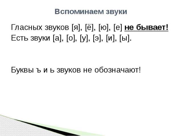 Вспоминаем звукиГласных звуков [я], [ё], [ю], [е] не бывает!Есть звуки [а], [о], [у], [э], [и], [ы].Буквы ъ и ь звуков не обозначают!