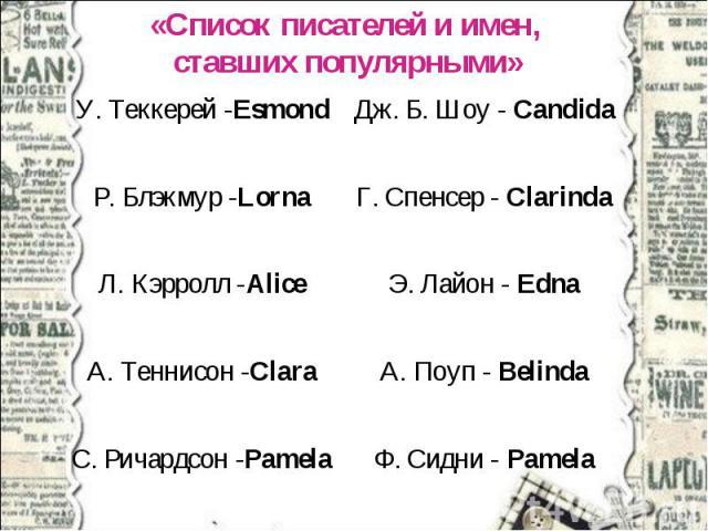 «Список писателей и имен, ставших популярными»