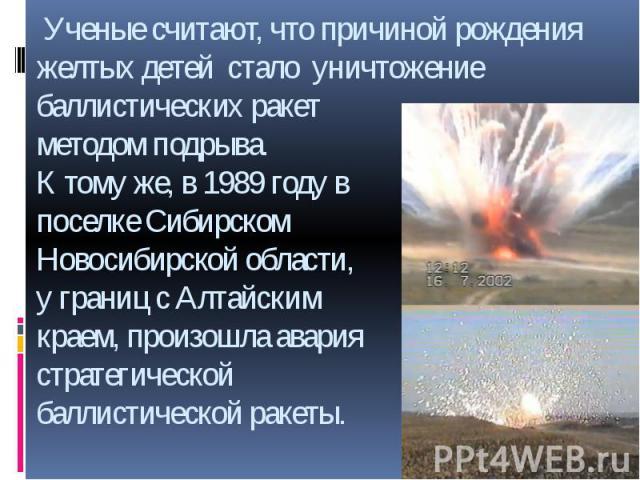 Ученые считают, что причиной рождения желтых детей стало уничтожение баллистических ракет методом подрыва. К тому же, в 1989 году в поселке Сибирском Новосибирской области, у границ с Алтайским краем, произошла авария стратегической баллистической ракеты.