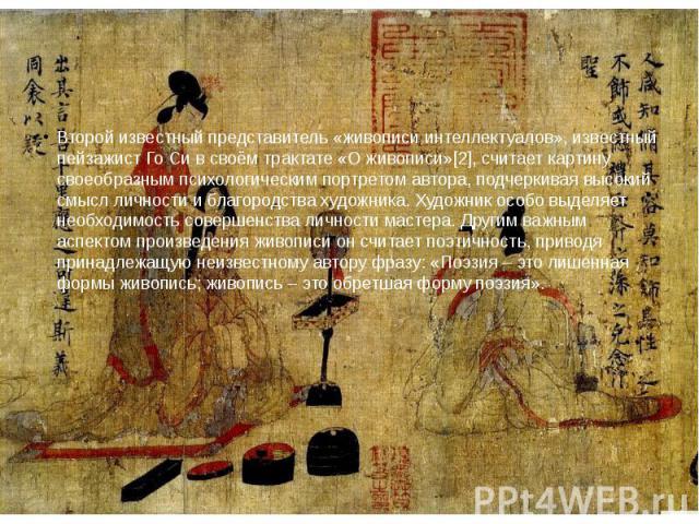 Второй известный представитель «живописи интеллектуалов», известный пейзажист Го Си в своём трактате «О живописи»[2], считает картину своеобразным психологическим портретом автора, подчеркивая высокий смысл личности и благородства художника. Художни…