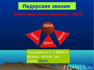 Лидерские звания БDr5БDr5 Под вами есть 3 БDr4 в разных ветках, вы стали БDr5 БD