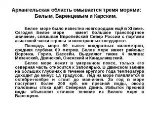 Архангельская область омывается тремя морями: Белым, Баренцевым и Карским. Белое