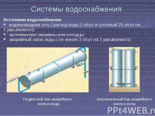 Системы водоснабжения Источники водоснабжения:водопроводная сеть ( расход воды 2