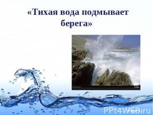 «Тихая вода подмывает берега»