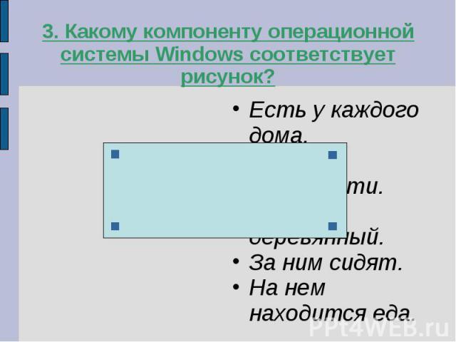 3. Какому компоненту операционной системы Windows соответствует рисунок?Есть у каждого дома.Имеет конечности.Обычно деревянный.За ним сидят.На нем находится еда.