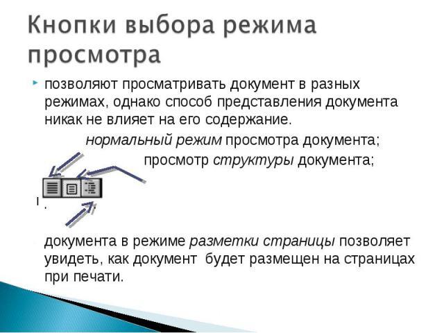 Кнопки выбора режима просмотрапозволяют просматривать документ в разных режимах, однако способ представления документа никак не влияет на его содержание. нормальный режим просмотра документа; просмотр структуры документа; просмотр документа в режиме…