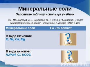 Минеральные солиЗаполните таблицу используя учебник С.Г. Мамонтова, В.Б. Захаров