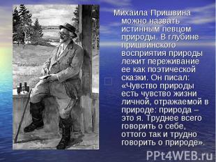 Михаила Пришвина можно назвать истинным певцом природы. В глубине пришвинского в