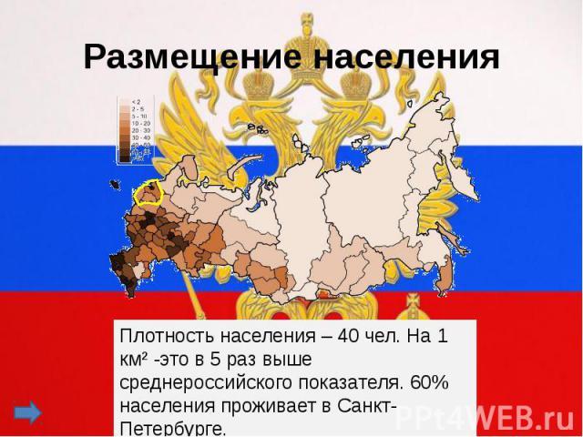 Размещение населенияПлотность населения – 40 чел. На 1 км² -это в 5 раз выше среднероссийского показателя. 60% населения проживает в Санкт-Петербурге.
