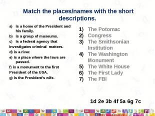 Match the places/names with the shortdescriptions.is a home of the President and