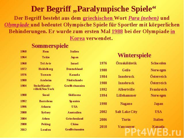 """Der Begriff """"Paralympische Spiele""""Der Begriff besteht aus dem griechischen Wort Para (neben) und Olympiade und bedeutet Olympische Spiele für Sportler mit körperlichen Behinderungen. Er wurde zum ersten Mal 1988 bei der Olympiade in Korea verwendet."""