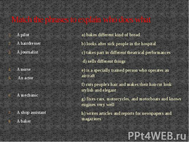 Match the phrases to explain who does whatA pilotA hairdresser A journalist A nurse An actor A mechanicA shop assistant A baker