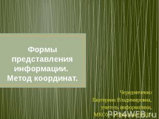 Формы представления информации. Метод координат.Чередниченко Екатерина Владимиро