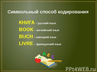 Символьный способ кодированияКНИГА – русский языкBOOK – английский языкBUCH – не