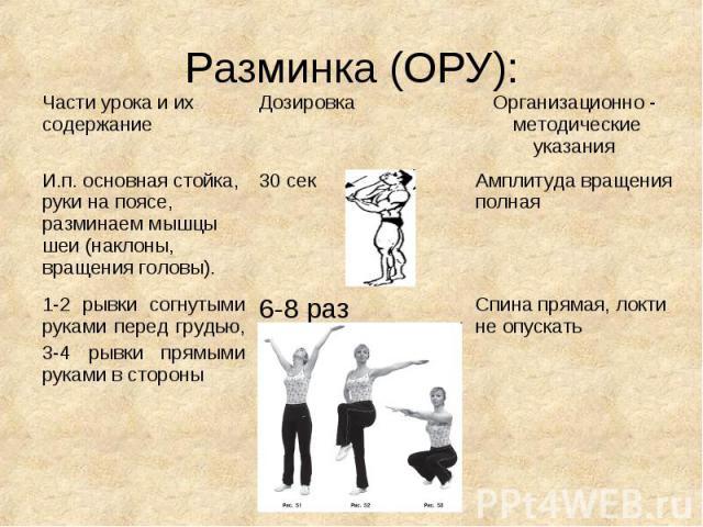 Разминка (ОРУ):