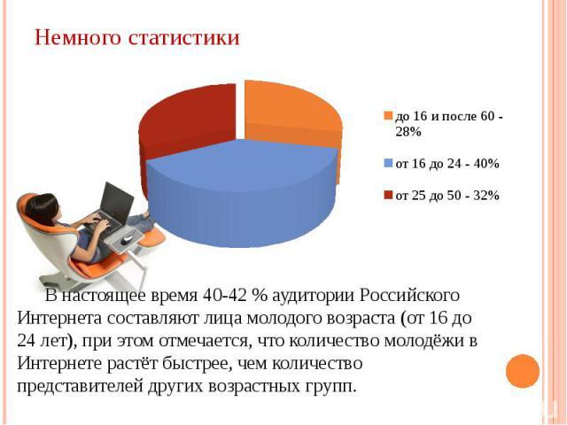 В настоящее время 40-42 % аудитории Российского Интернета составляют лица молодого возраста (от 16 до 24 лет), при этом отмечается, что количество молодёжи в Интернете растёт быстрее, чем количество представителей других возрастных групп.