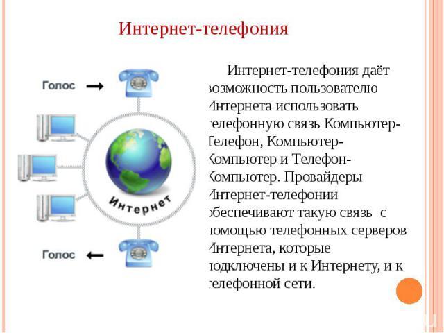 Интернет-телефонияИнтернет-телефония даёт возможность пользователю Интернета использовать телефонную связь Компьютер-Телефон, Компьютер-Компьютер и Телефон-Компьютер. Провайдеры Интернет-телефонии обеспечивают такую связь с помощью телефонных сервер…