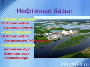 Нефтяные базы:Западно- Сибирская:2/3 добычи нефти Самотлор, СургутВолго- Уральск
