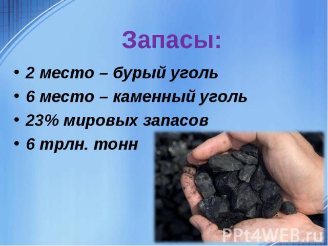 2 место – бурый уголь 6 место – каменный уголь23% мировых запасов 6 трлн. тонн