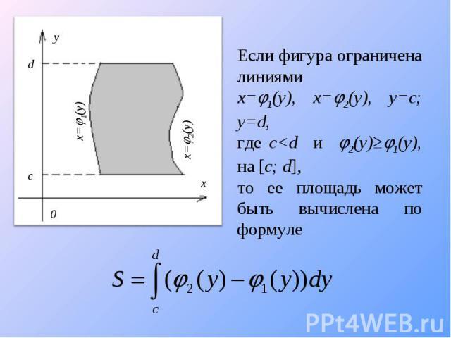 Если фигура ограничена линиями x=1(y), x=2(y), y=c; y=d, где c