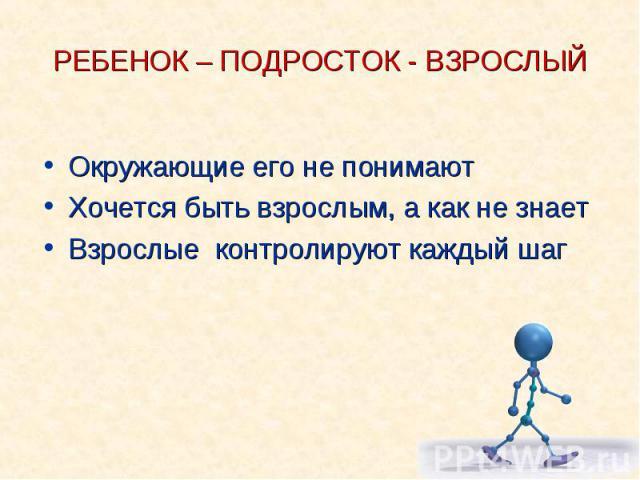 РЕБЕНОК – ПОДРОСТОК - ВЗРОСЛЫЙОкружающие его не понимаютХочется быть взрослым, а как не знаетВзрослые контролируют каждый шаг