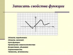 Записать свойства функцииОбласть определения:Область значений:Нули функции:Проме