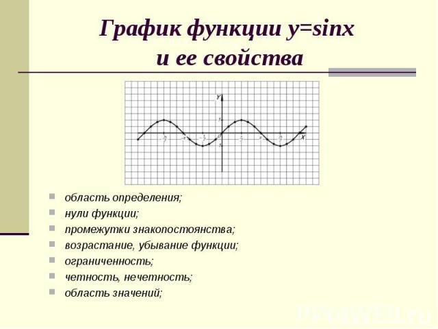 График функции y=sinx и ее свойстваобласть определения;нули функции;промежутки знакопостоянства;возрастание, убывание функции;ограниченность;четность, нечетность;область значений;