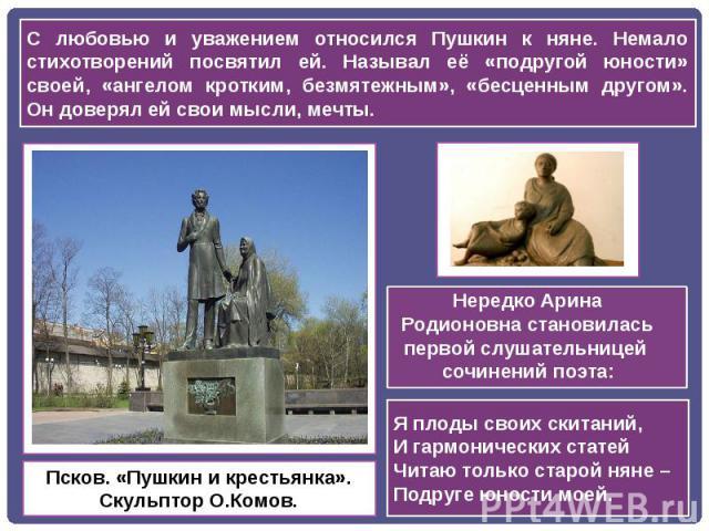 С любовью и уважением относился Пушкин к няне. Немало стихотворений посвятил ей. Называл её «подругой юности» своей, «ангелом кротким, безмятежным», «бесценным другом». Он доверял ей свои мысли, мечты. Нередко Арина Родионовна становилась первой слу…