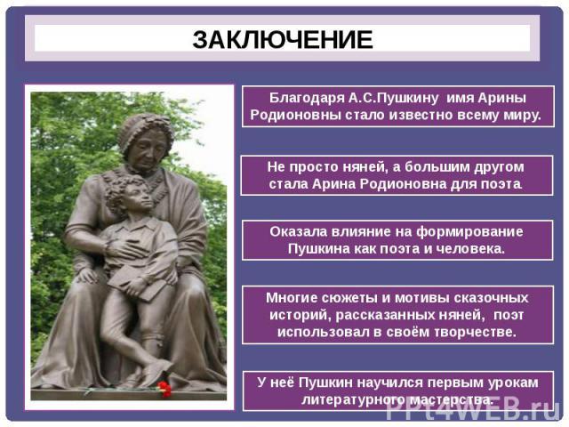 ЗАКЛЮЧЕНИЕБлагодаря А.С.Пушкину имя Арины Родионовны стало известно всему миру.