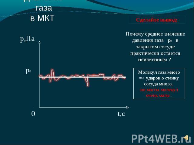 Почему среднее значение давления газа р0 в закрытом сосуде практически остается неизменным ? Молекул газа много => ударов о стенку сосуда много, но массы молекул очень малы .
