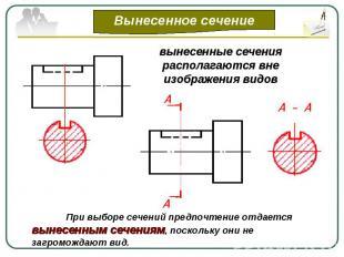 вынесенные сечения располагаются вне изображения видовПри выборе сечений предпоч