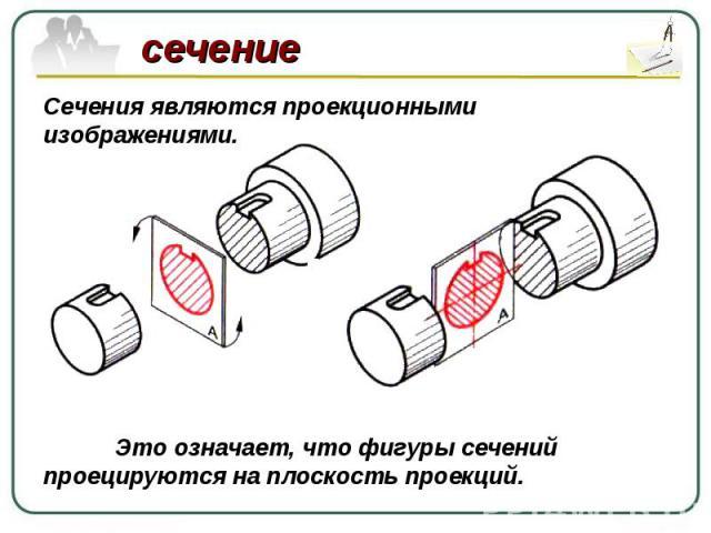Сечения являются проекционными изображениями. Это означает, что фигуры сечений проецируются на плоскость проекций.