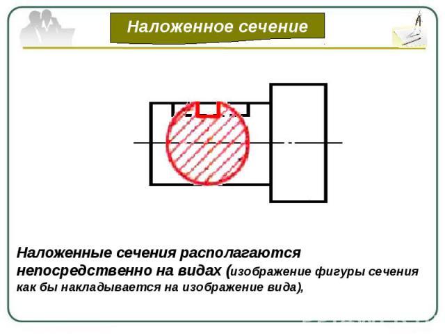 Наложенные сечения располагаются непосредственно на видах (изображение фигуры сечения как бы накладывается на изображение вида),