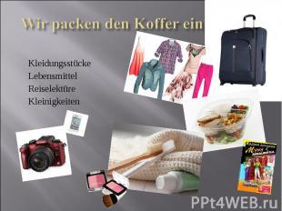 Wir packen den Koffer einKleidungsstückeLebensmittelReiselektüreKleinigkeiten