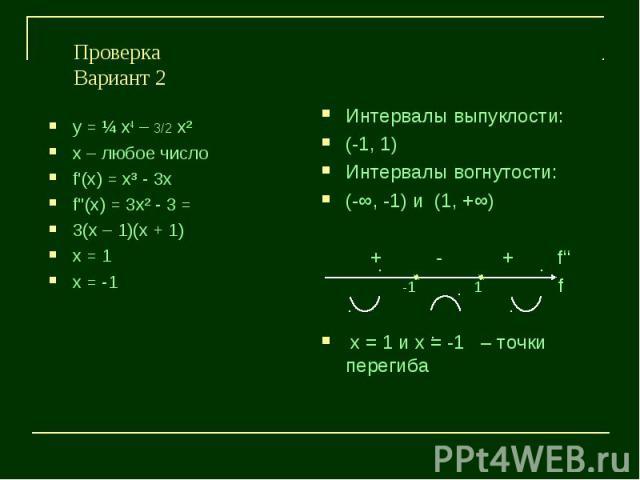 ПроверкаВариант 2у = ¼ х4 – 3/2 х²х – любое числоf'(х) = х³ - 3хf''(х) = 3х² - 3 =3(х – 1)(х + 1)х = 1х = -1
