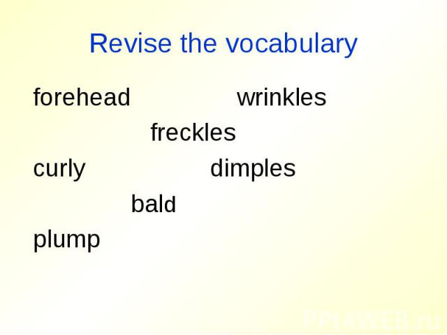Revise the vocabulary forehead wrinkles freckles curly dimples bald plump