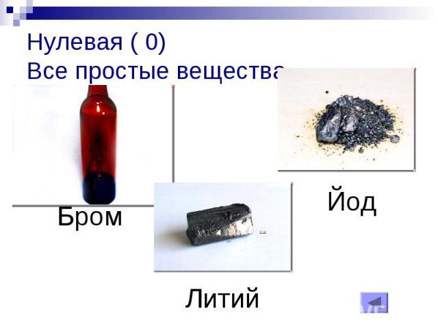 Нулевая ( 0)Все простые вещества
