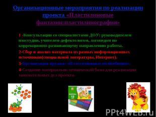 Организационные мероприятия по реализации проекта «Пластилиновые фантазии:пласти