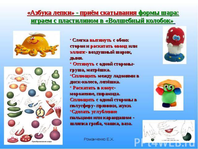 «Азбука лепки» - приём скатывания формы шара: играем с пластилином в «Волшебный колобок» Слегка вытянуть с обеих сторон и раскатать овоид или эллипс- воздушный шарик, дыня. Оттянуть с одной стороны- груша, матрёшка.Сплющить между ладонями в диск-кол…