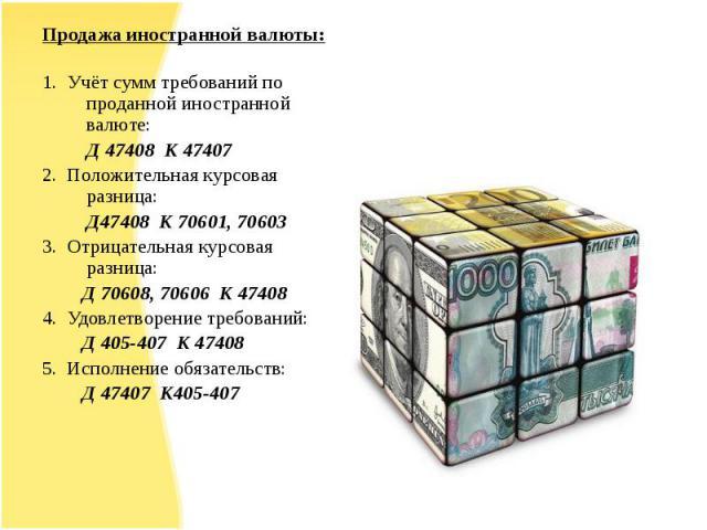 Продажа иностранной валюты:Продажа иностранной валюты:1. Учёт сумм требований по проданной иностранной валюте: Д 47408 К 474072. Положительная курсовая разница: Д47408 К 70601, 706033. Отрицательная курсовая разница: Д 70608, 70606 К 474084. Удовлет…