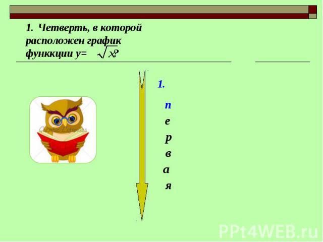Четверть, в которой расположен график функкции у= ?